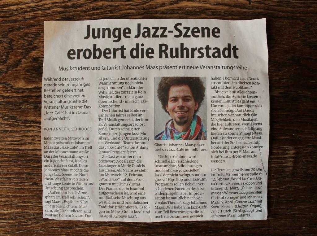 Zeitungsartikel Jazz-Café, Witten Aktuell